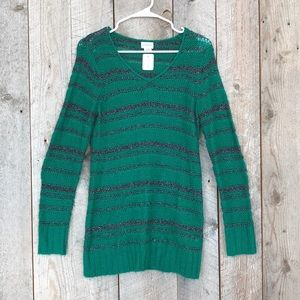 Motherhood green black silver stripe v neck M